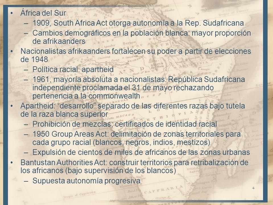 África del Sur 1909, South Africa Act otorga autonomía a la Rep. Sudafricana.