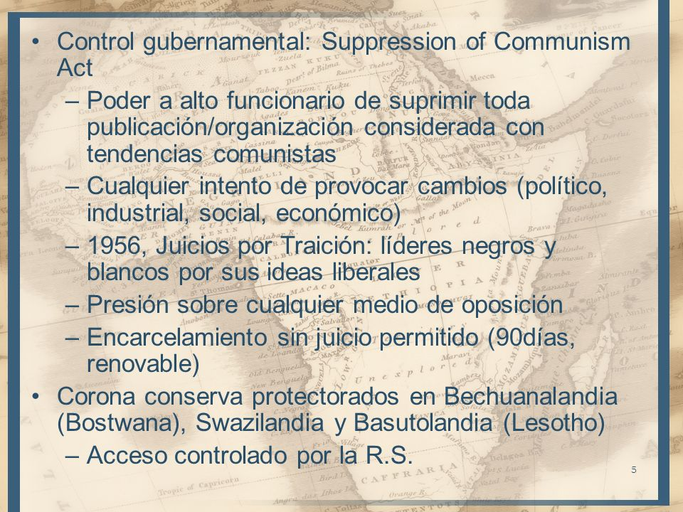 Control gubernamental: Suppression of Communism Act