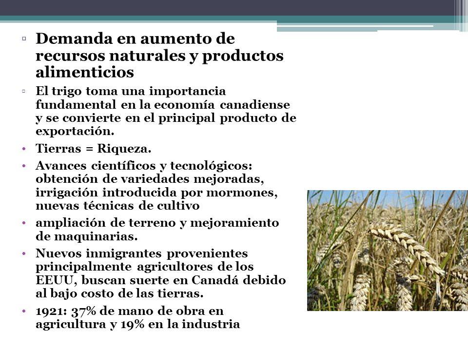 Demanda en aumento de recursos naturales y productos alimenticios