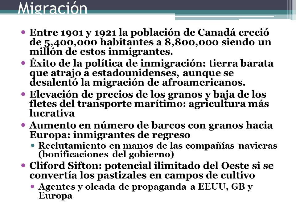 Migración Entre 1901 y 1921 la población de Canadá creció de 5,400,000 habitantes a 8,800,000 siendo un millón de estos inmigrantes.