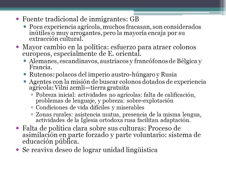 Fuente tradicional de inmigrantes: GB