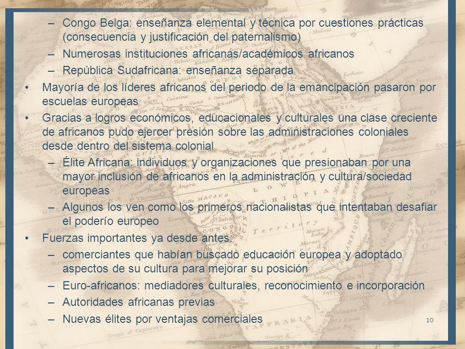 Congo Belga: enseñanza elemental y técnica por cuestiones prácticas (consecuencia y justificación del paternalismo)