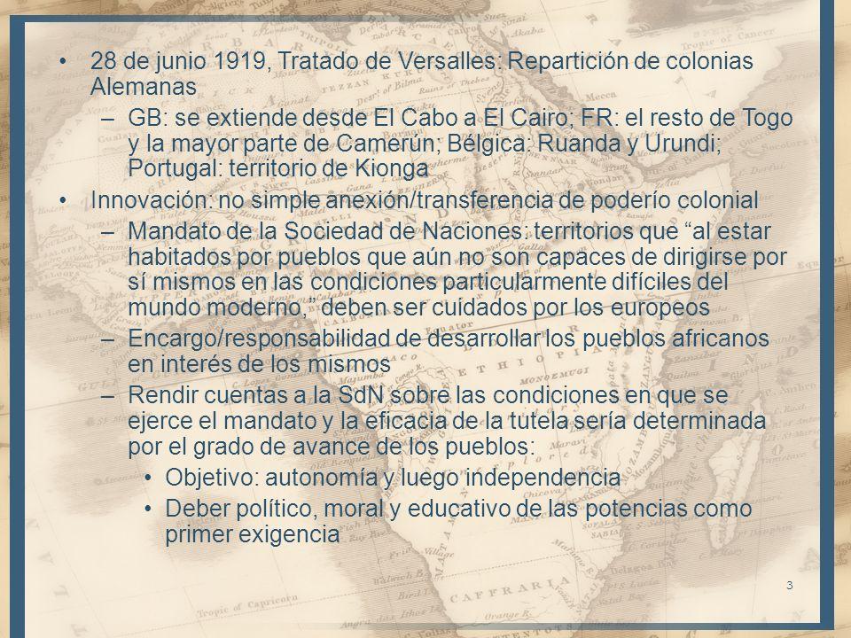 28 de junio 1919, Tratado de Versalles: Repartición de colonias Alemanas