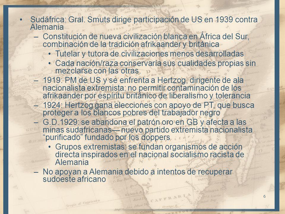 Sudáfrica: Gral. Smuts dirige participación de US en 1939 contra Alemania