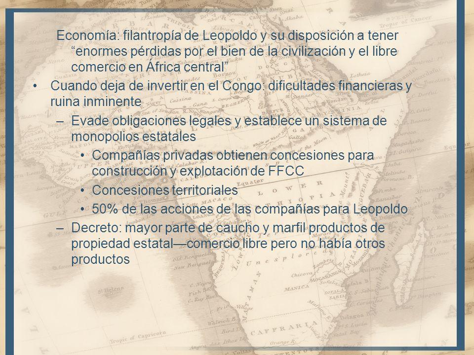 Economía: filantropía de Leopoldo y su disposición a tener enormes pérdidas por el bien de la civilización y el libre comercio en África central
