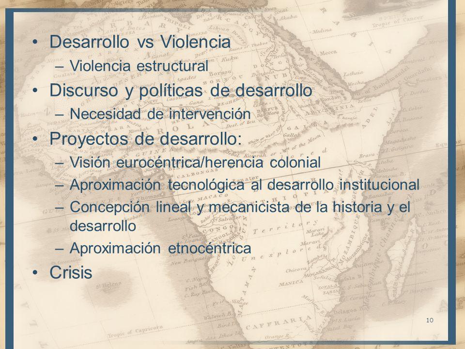 Desarrollo vs Violencia Discurso y políticas de desarrollo