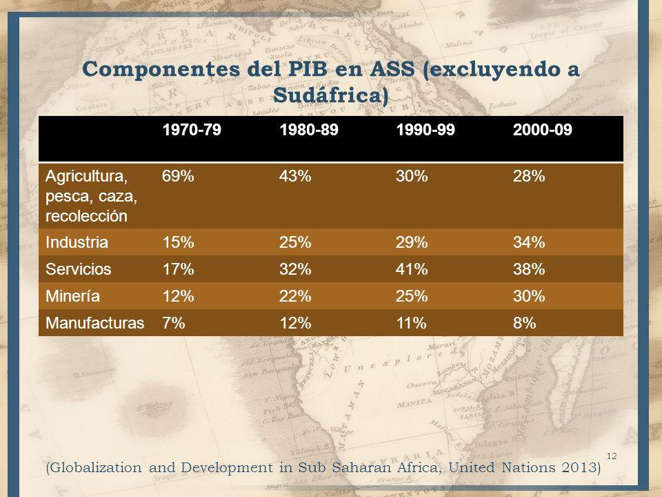 Componentes del PIB en ASS (excluyendo a Sudáfrica)