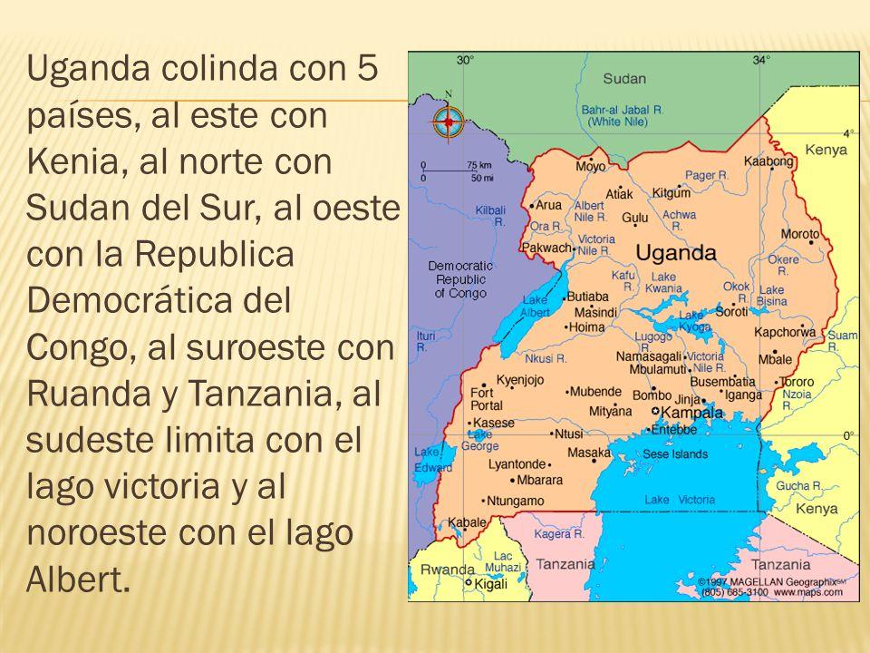 Uganda colinda con 5 países, al este con Kenia, al norte con Sudan del Sur, al oeste con la Republica Democrática del Congo, al suroeste con Ruanda y Tanzania, al sudeste limita con el lago victoria y al noroeste con el lago Albert.