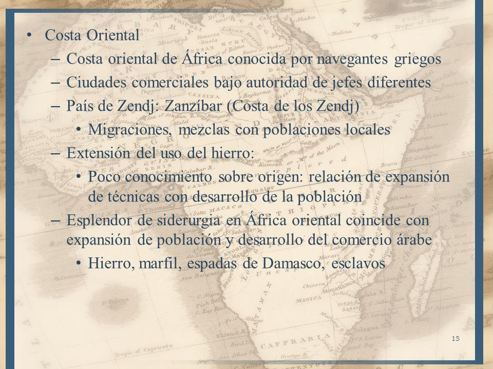 Costa Oriental Costa oriental de África conocida por navegantes griegos. Ciudades comerciales bajo autoridad de jefes diferentes.