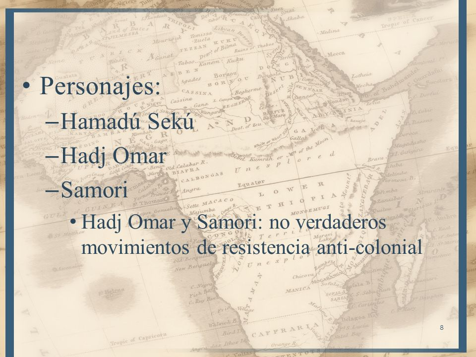 Personajes: Hamadú Sekú Hadj Omar Samori