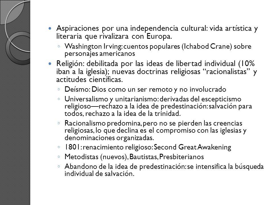 Aspiraciones por una independencia cultural: vida artística y literaria que rivalizara con Europa.