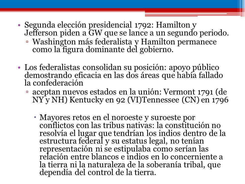 Segunda elección presidencial 1792: Hamilton y Jefferson piden a GW que se lance a un segundo periodo.