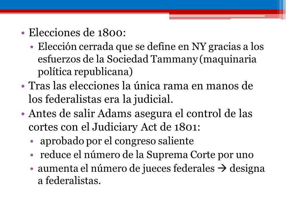 Elecciones de 1800: Elección cerrada que se define en NY gracias a los esfuerzos de la Sociedad Tammany (maquinaria política republicana)