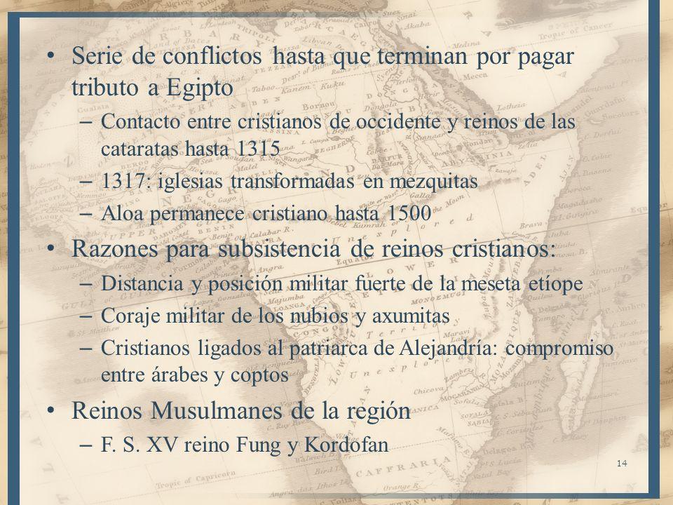 Serie de conflictos hasta que terminan por pagar tributo a Egipto