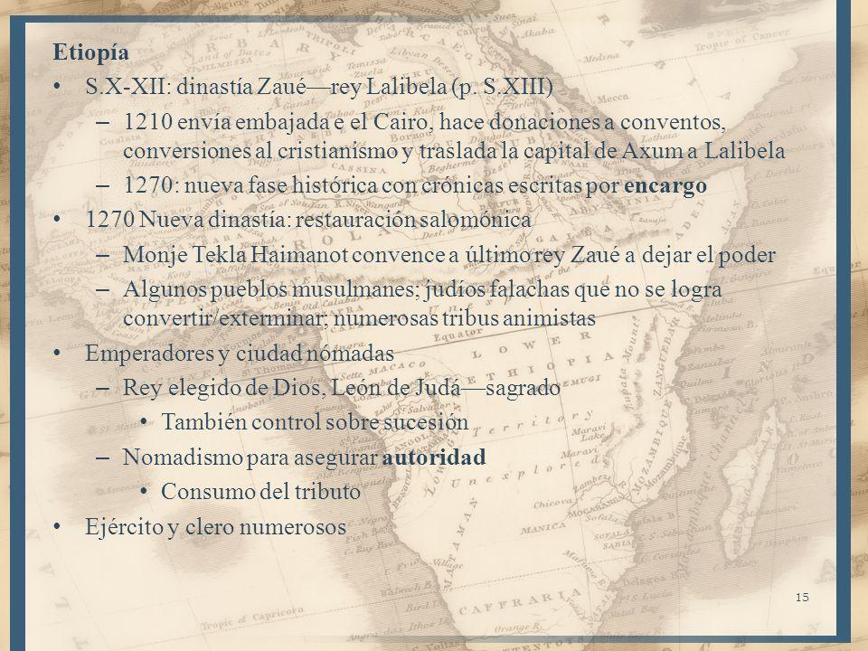 EtiopíaS.X-XII: dinastía Zaué—rey Lalibela (p. S.XIII)