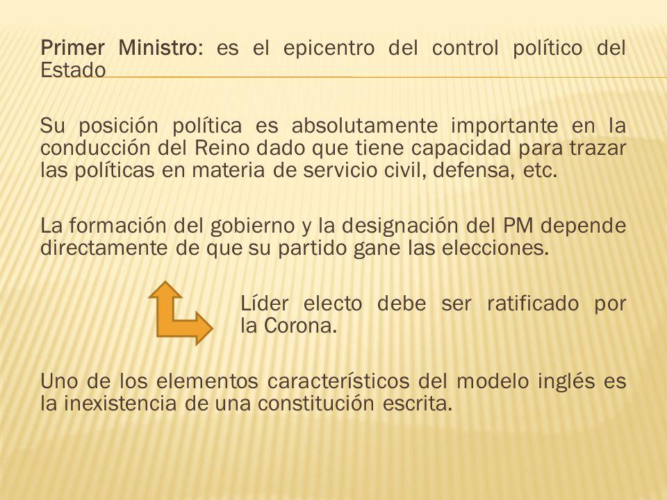 Primer Ministro: es el epicentro del control político del Estado