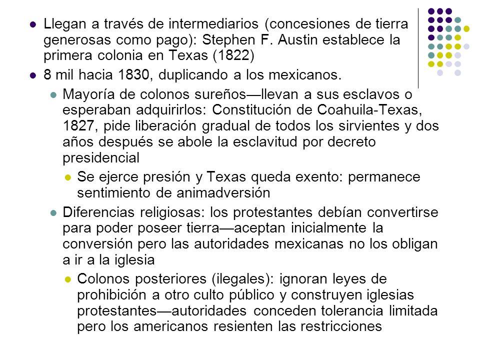 Llegan a través de intermediarios (concesiones de tierra generosas como pago): Stephen F. Austin establece la primera colonia en Texas (1822)