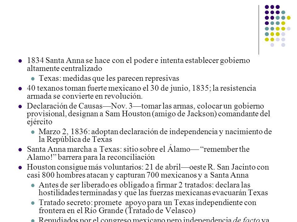 1834 Santa Anna se hace con el poder e intenta establecer gobierno altamente centralizado