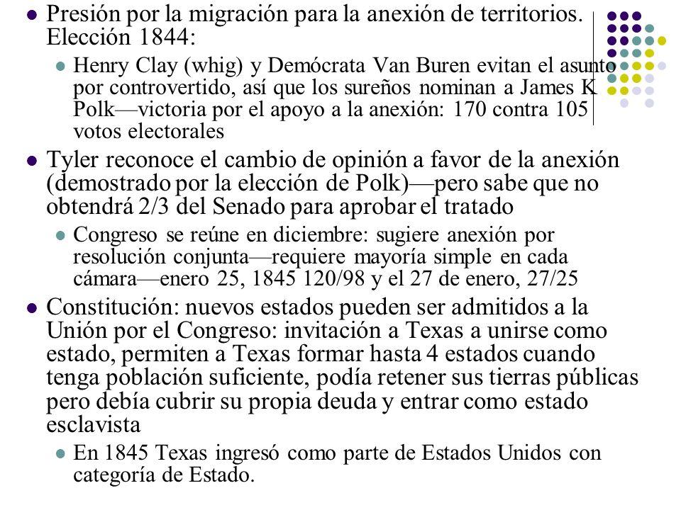 Presión por la migración para la anexión de territorios. Elección 1844: