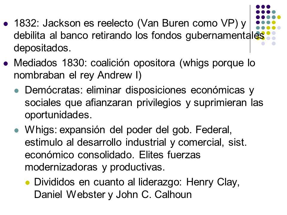 1832: Jackson es reelecto (Van Buren como VP) y debilita al banco retirando los fondos gubernamentales depositados.