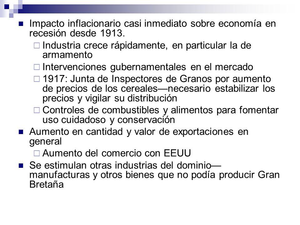Impacto inflacionario casi inmediato sobre economía en recesión desde 1913.