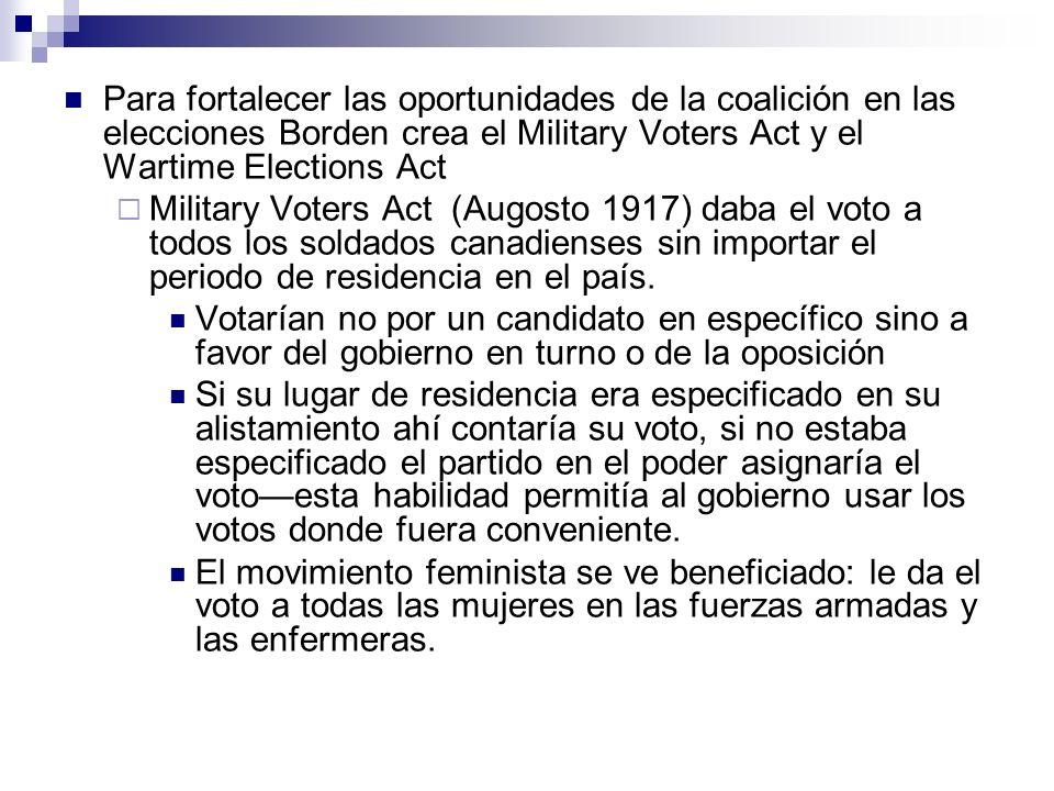 Para fortalecer las oportunidades de la coalición en las elecciones Borden crea el Military Voters Act y el Wartime Elections Act