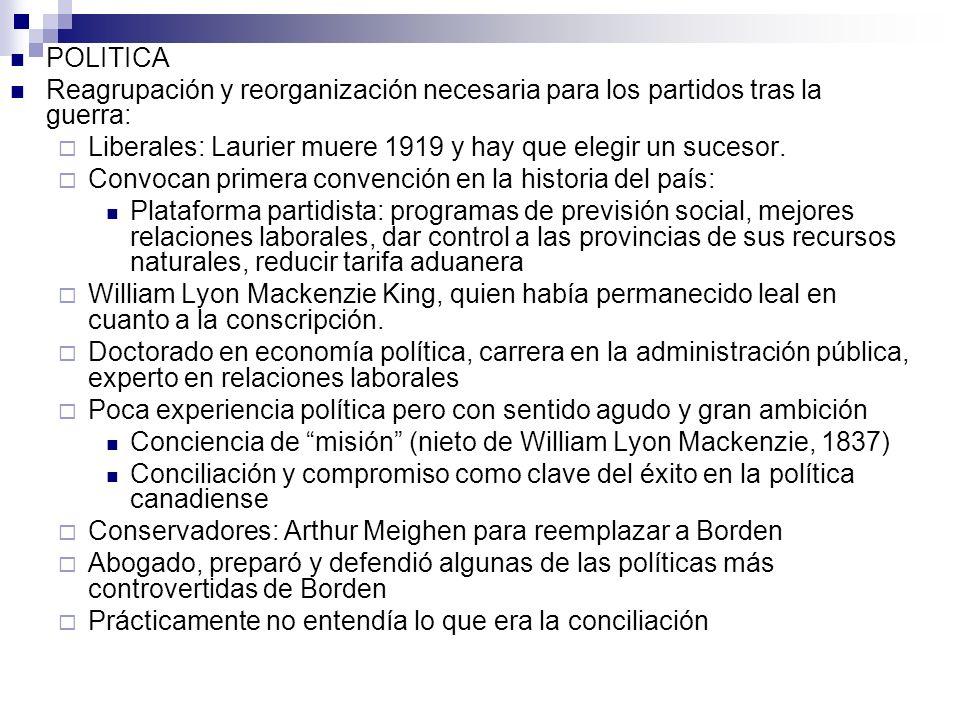POLITICA Reagrupación y reorganización necesaria para los partidos tras la guerra: Liberales: Laurier muere 1919 y hay que elegir un sucesor.