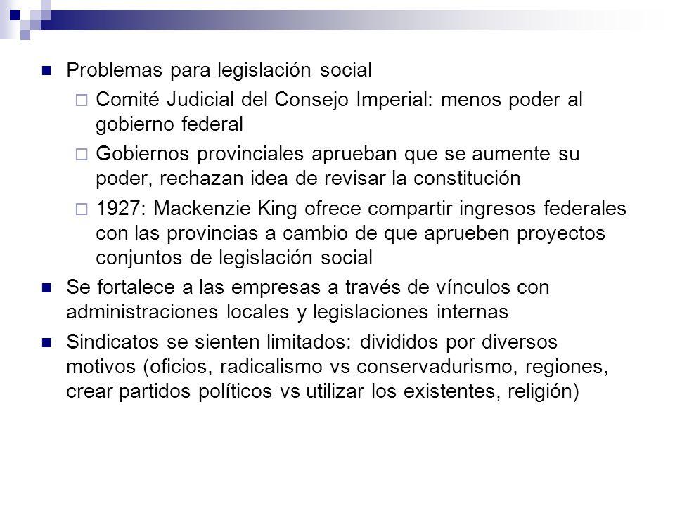 Problemas para legislación social