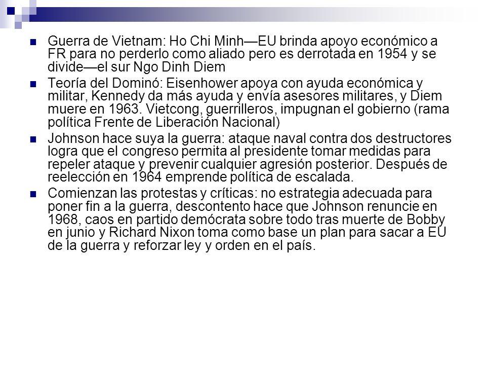 Guerra de Vietnam: Ho Chi Minh—EU brinda apoyo económico a FR para no perderlo como aliado pero es derrotada en 1954 y se divide—el sur Ngo Dinh Diem
