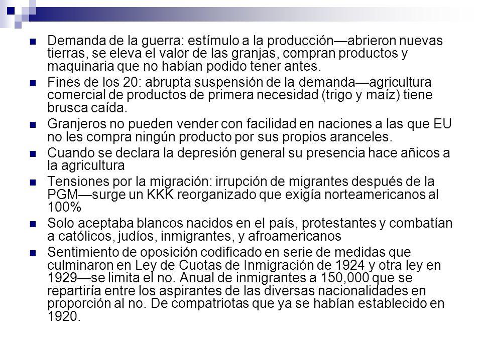 Demanda de la guerra: estímulo a la producción—abrieron nuevas tierras, se eleva el valor de las granjas, compran productos y maquinaria que no habían podido tener antes.