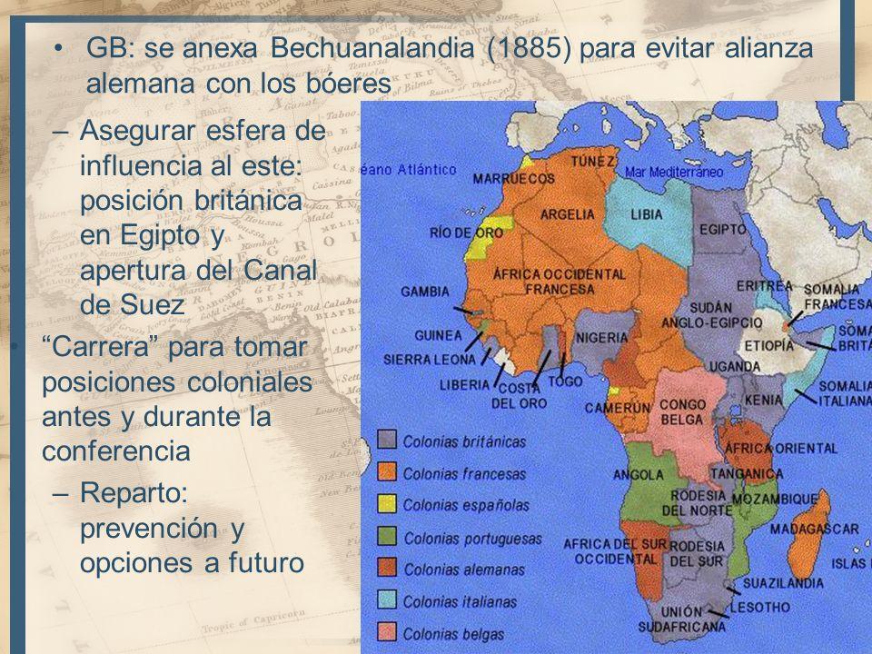 GB: se anexa Bechuanalandia (1885) para evitar alianza alemana con los bóeres