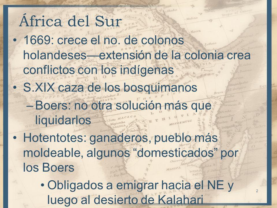 África del Sur1669: crece el no. de colonos holandeses—extensión de la colonia crea conflictos con los indígenas.