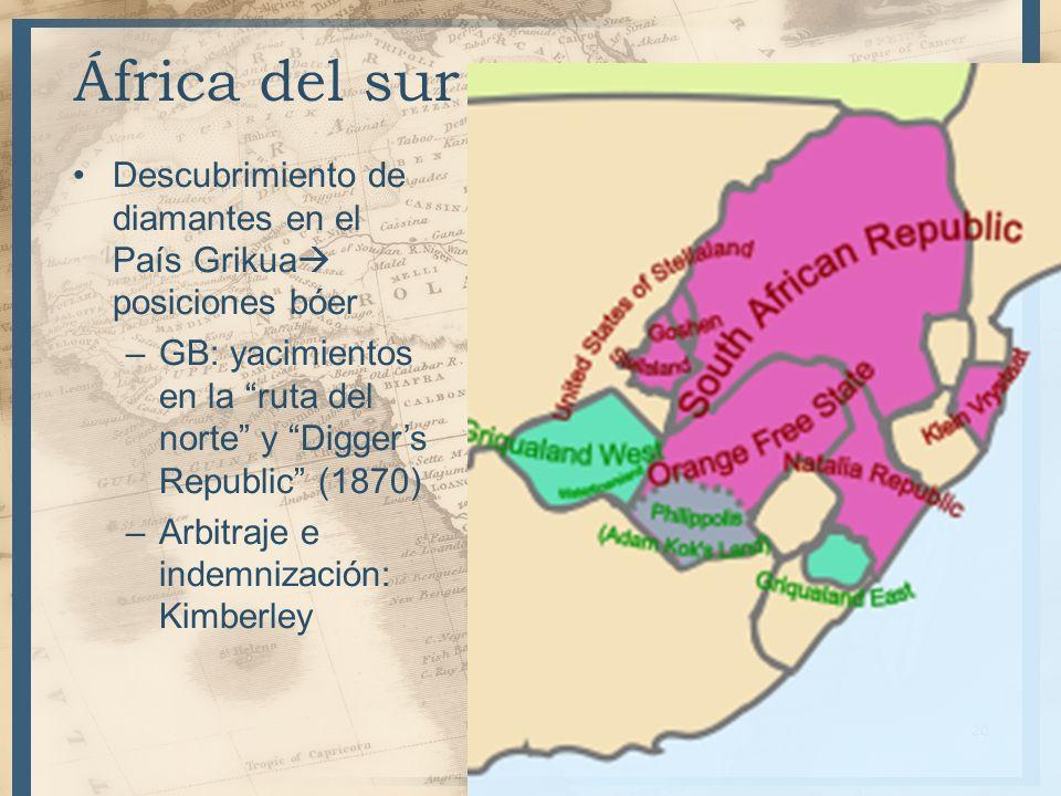 África del surDescubrimiento de diamantes en el País Grikua posiciones bóer. GB: yacimientos en la ruta del norte y Digger's Republic (1870)