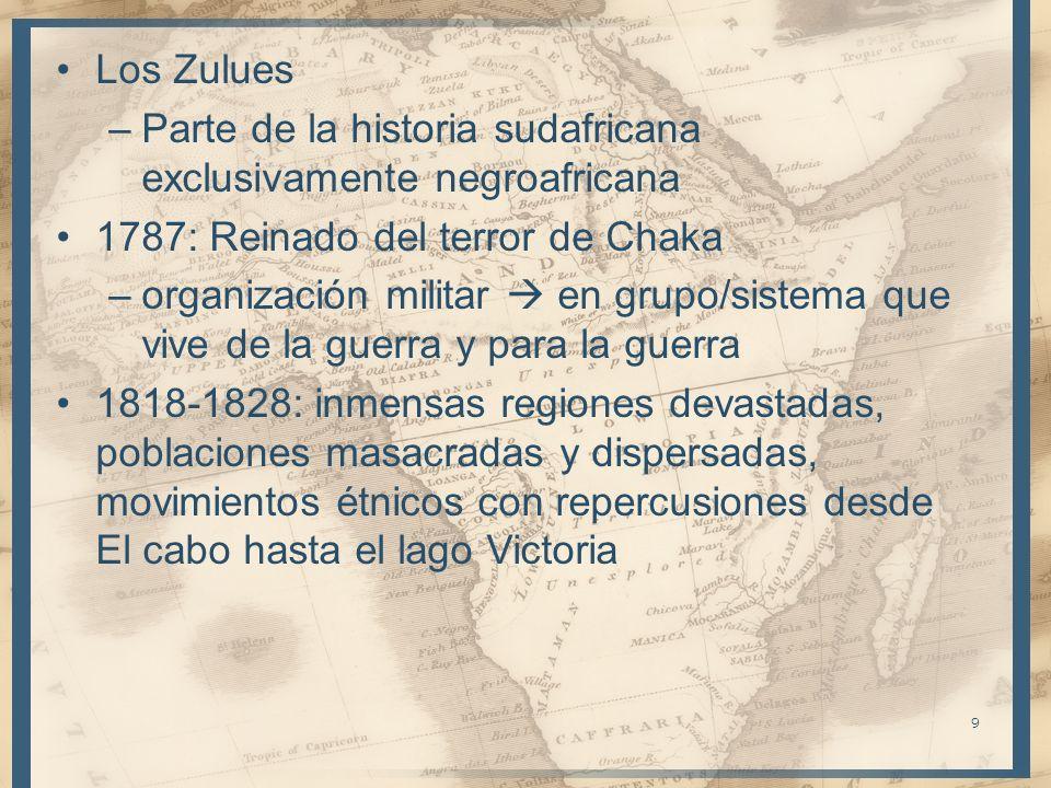 Los Zulues Parte de la historia sudafricana exclusivamente negroafricana. 1787: Reinado del terror de Chaka.