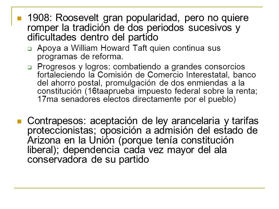 1908: Roosevelt gran popularidad, pero no quiere romper la tradición de dos periodos sucesivos y dificultades dentro del partido
