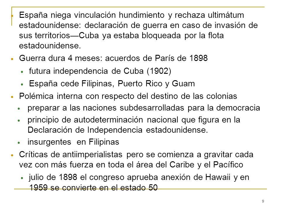 España niega vinculación hundimiento y rechaza ultimátum estadounidense: declaración de guerra en caso de invasión de sus territorios—Cuba ya estaba bloqueada por la flota estadounidense.