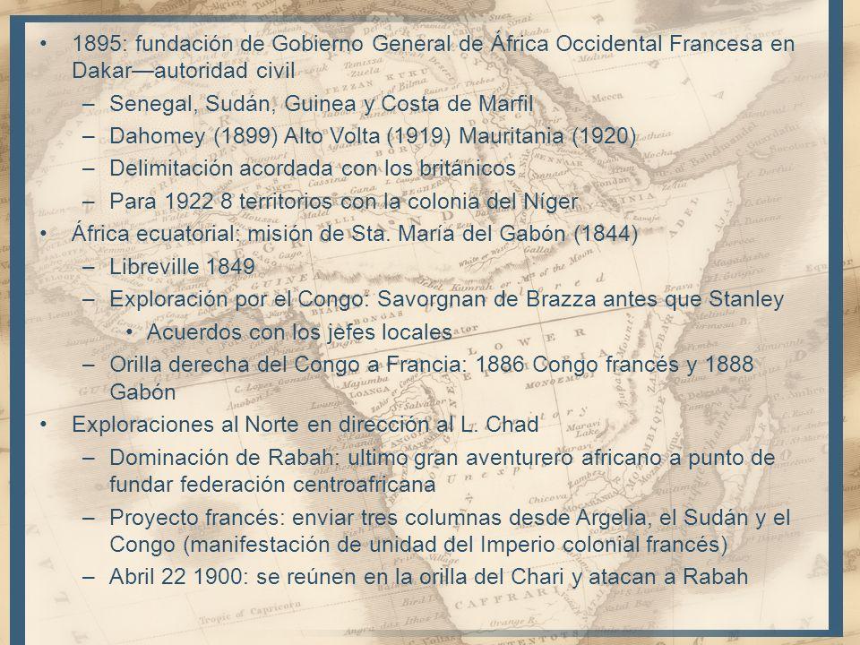1895: fundación de Gobierno General de África Occidental Francesa en Dakar—autoridad civil