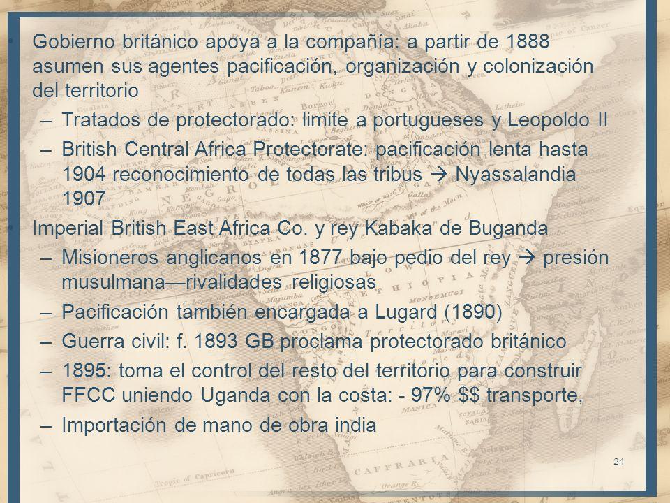 Gobierno británico apoya a la compañía: a partir de 1888 asumen sus agentes pacificación, organización y colonización del territorio