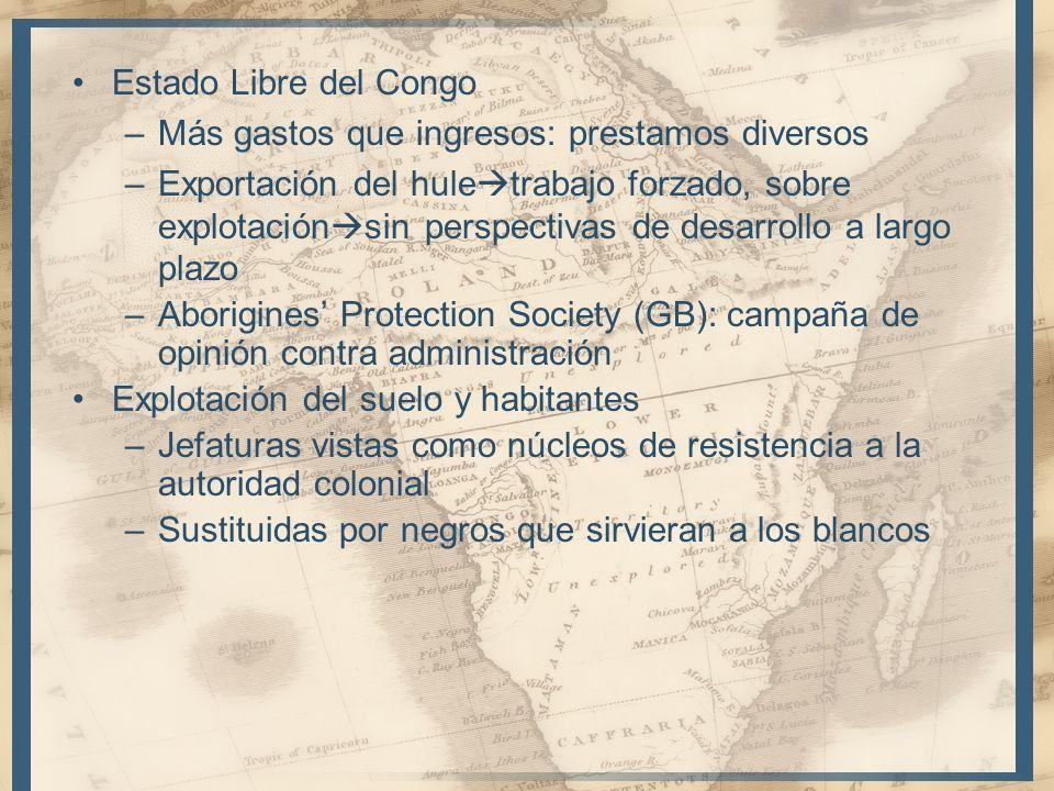 Estado Libre del Congo Más gastos que ingresos: prestamos diversos.