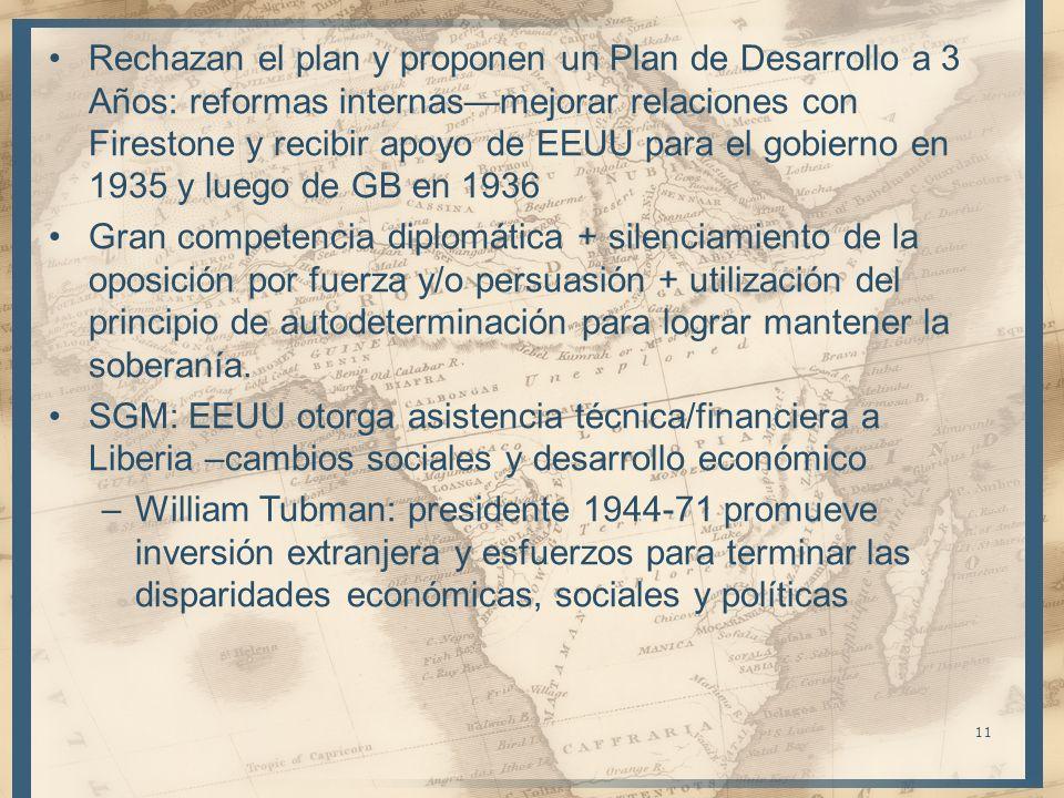 Rechazan el plan y proponen un Plan de Desarrollo a 3 Años: reformas internas—mejorar relaciones con Firestone y recibir apoyo de EEUU para el gobierno en 1935 y luego de GB en 1936