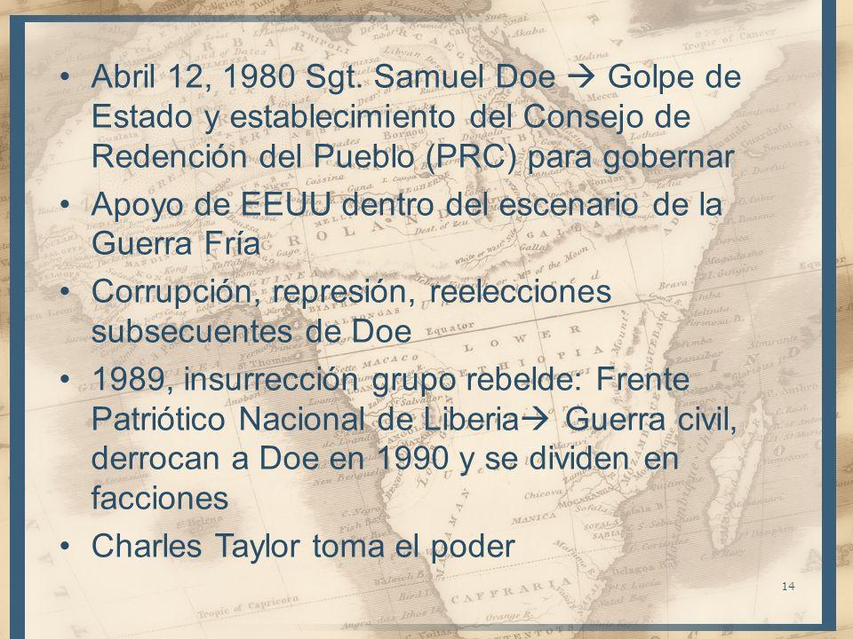 Abril 12, 1980 Sgt. Samuel Doe  Golpe de Estado y establecimiento del Consejo de Redención del Pueblo (PRC) para gobernar