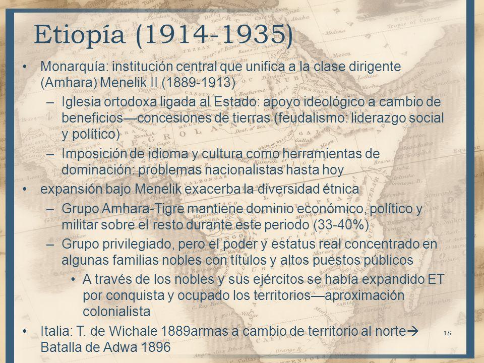 Etiopía (1914-1935) Monarquía: institución central que unifica a la clase dirigente (Amhara) Menelik II (1889-1913)