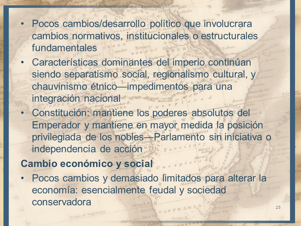 Pocos cambios/desarrollo político que involucrara cambios normativos, institucionales o estructurales fundamentales