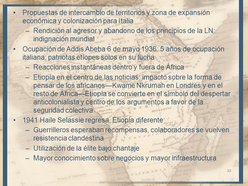 Propuestas de intercambio de territorios y zona de expansión económica y colonización para Italia
