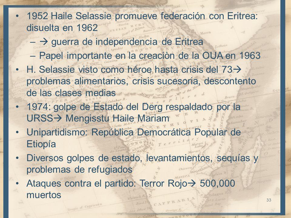 1952 Haile Selassie promueve federación con Eritrea: disuelta en 1962