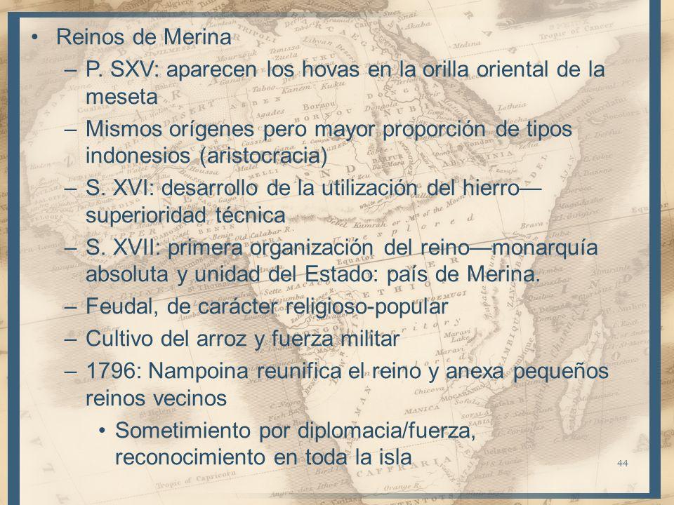 Reinos de Merina P. SXV: aparecen los hovas en la orilla oriental de la meseta.