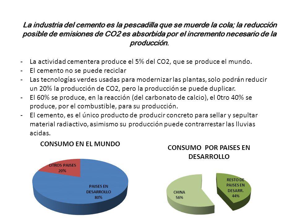 La industria del cemento es la pescadilla que se muerde la cola; la reducción posible de emisiones de CO2 es absorbida por el incremento necesario de la producción.