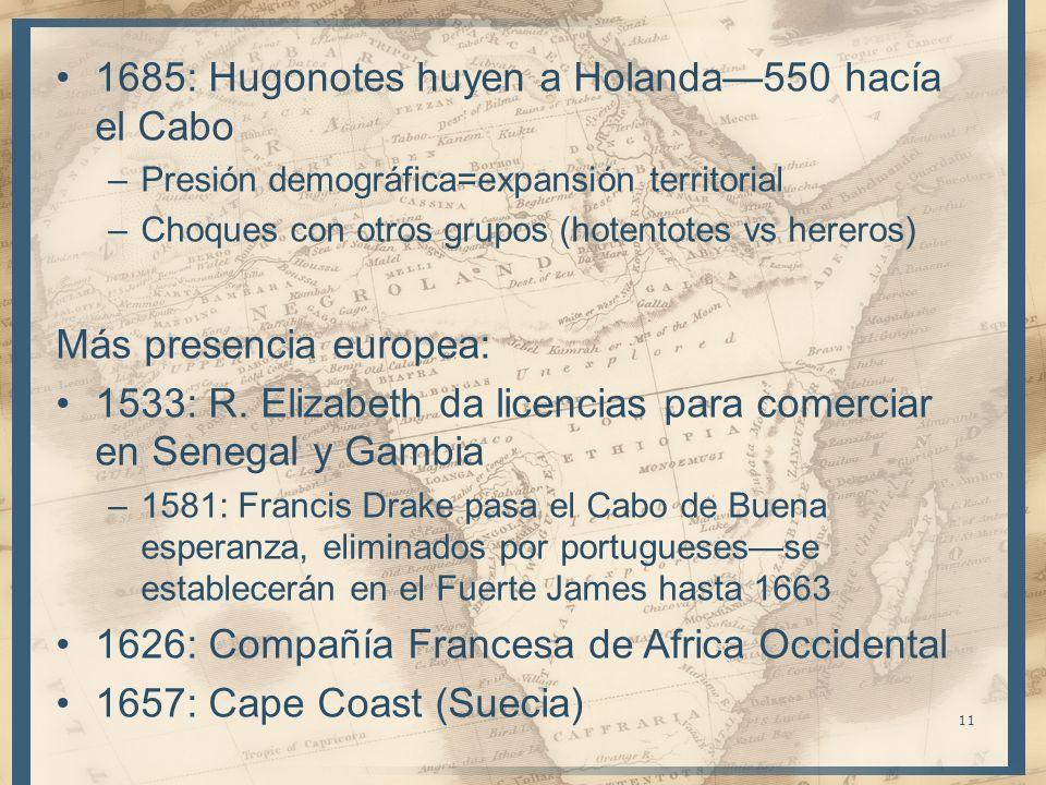 1685: Hugonotes huyen a Holanda—550 hacía el Cabo