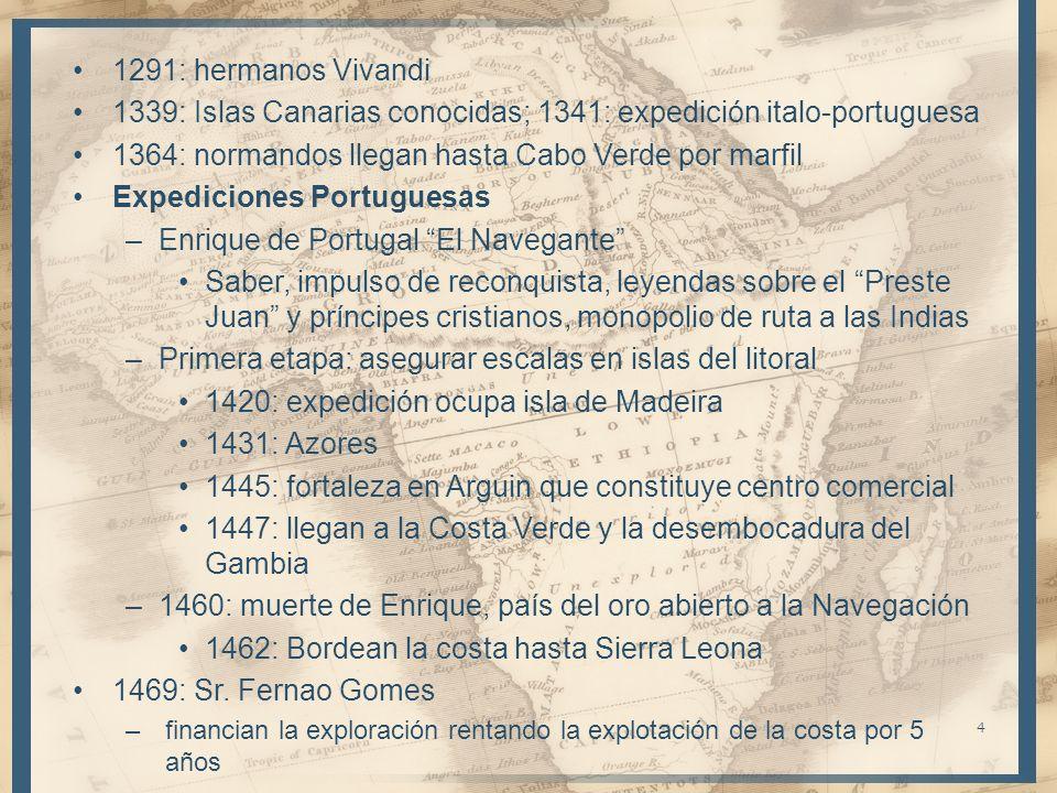 1339: Islas Canarias conocidas; 1341: expedición italo-portuguesa
