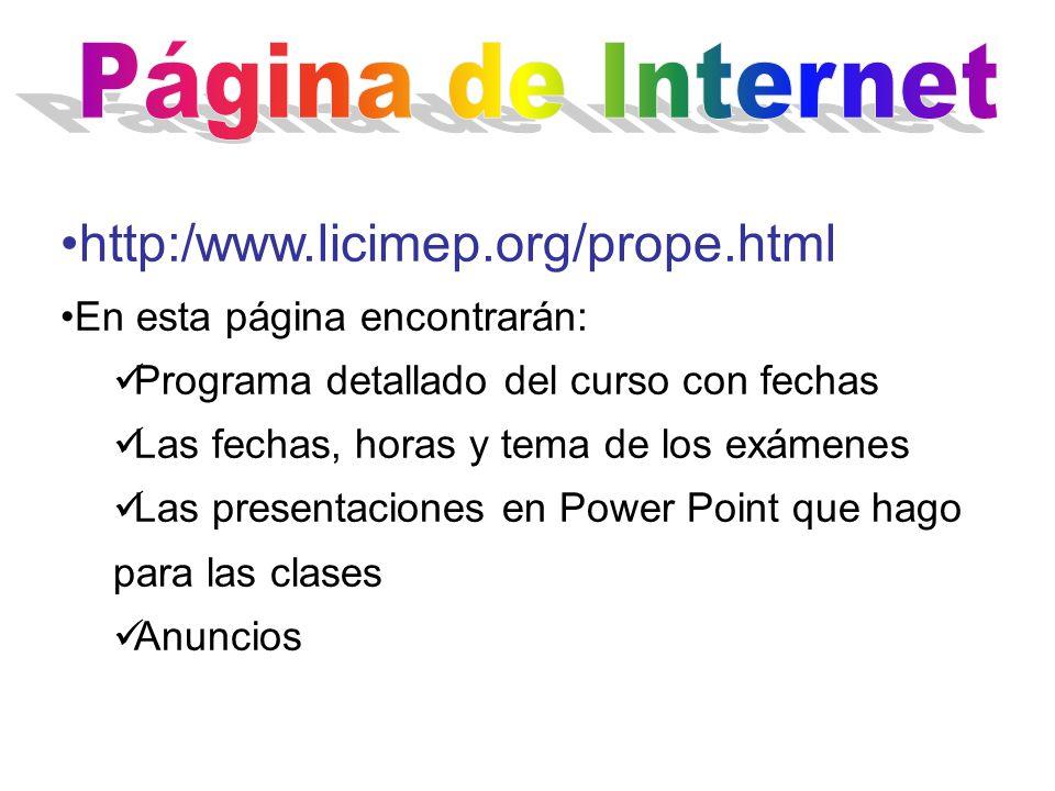 Página de Internet http:/www.licimep.org/prope.html